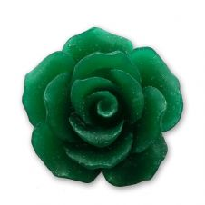 18mm Emerald Green Resin Rose Bloom Cabochon